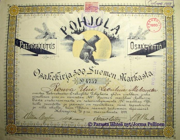 Palovakuutusosakeyhtiö Pohjolan osakekirja vuodelta 1891.