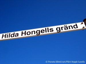 Hilda Hongellin kuja on lyhyt ja kapea.