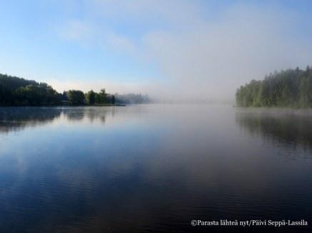Aamusumua Aulangonjärvellä.