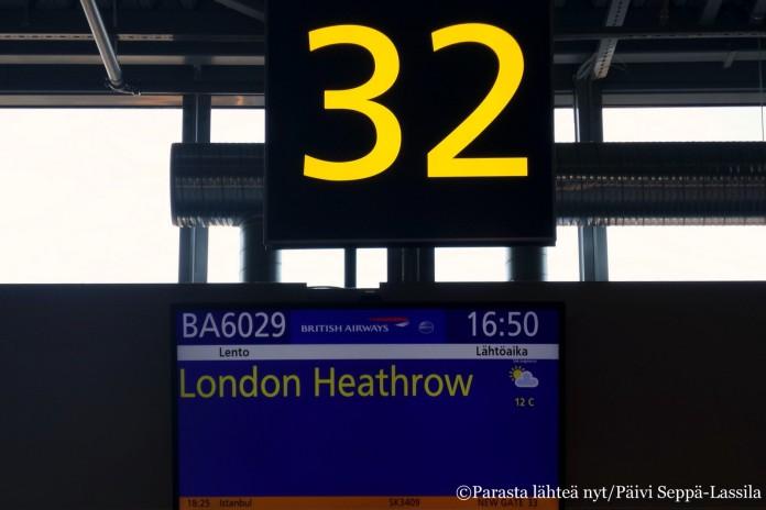 Lähtöportti Lontooseen.