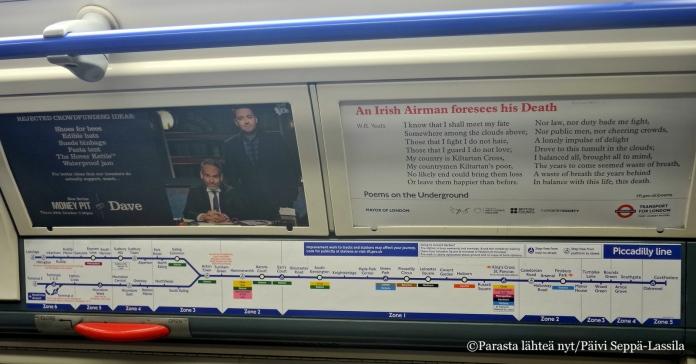 Metrovaunun linjakartasta voi seurata matkan edistymistä.