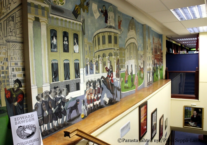 Seinämaalaus Blackwell´sin kirjakaupassa.
