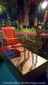 The Clubin ranta-alueet oli koristeltu jouluisin aihein. Tässä Petterin Punakuonon reki valmiina lähtöön.