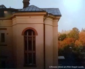 Yksityiskohta Heidekenin synnytyssairaalasta kuvattuna sisältä (valokuva on skannattu vuonna 1990 filmikameralla otetusta kuvasta).
