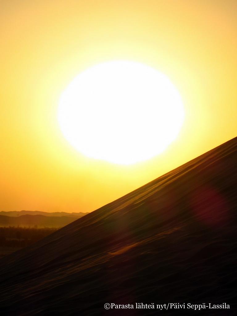 Hiekkadyynejä auringon laskiessa jossain Abu Dhabin lähistöllä.