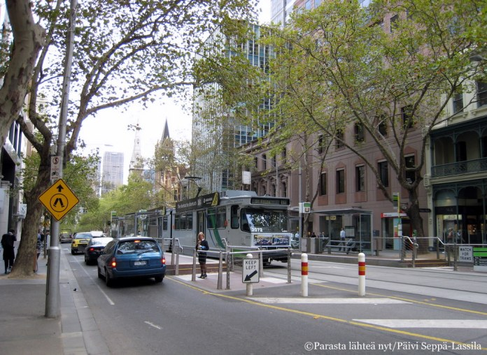 Ratikat olivat kätevä liikenneväline Melbournessa.