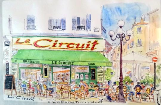Taiteilijan näkemys Le Circuit -kahvilasta.