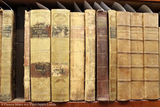 Vanhoja kirjoja kupolisalin parvella.