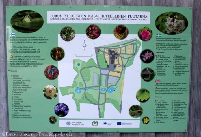 Kartan avulla voi valita itelleen mieluisimmat tutustumiskohteet puutarhasta - ellet sitten halua tutkia koko aluetta.