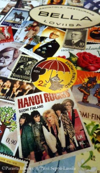 Ravintola Bellan suomenkielisen menun kannessa on suomalaisia postimerkkejä. Mukana ainakin Urho Kekkonen ja Hanoi Rocks.