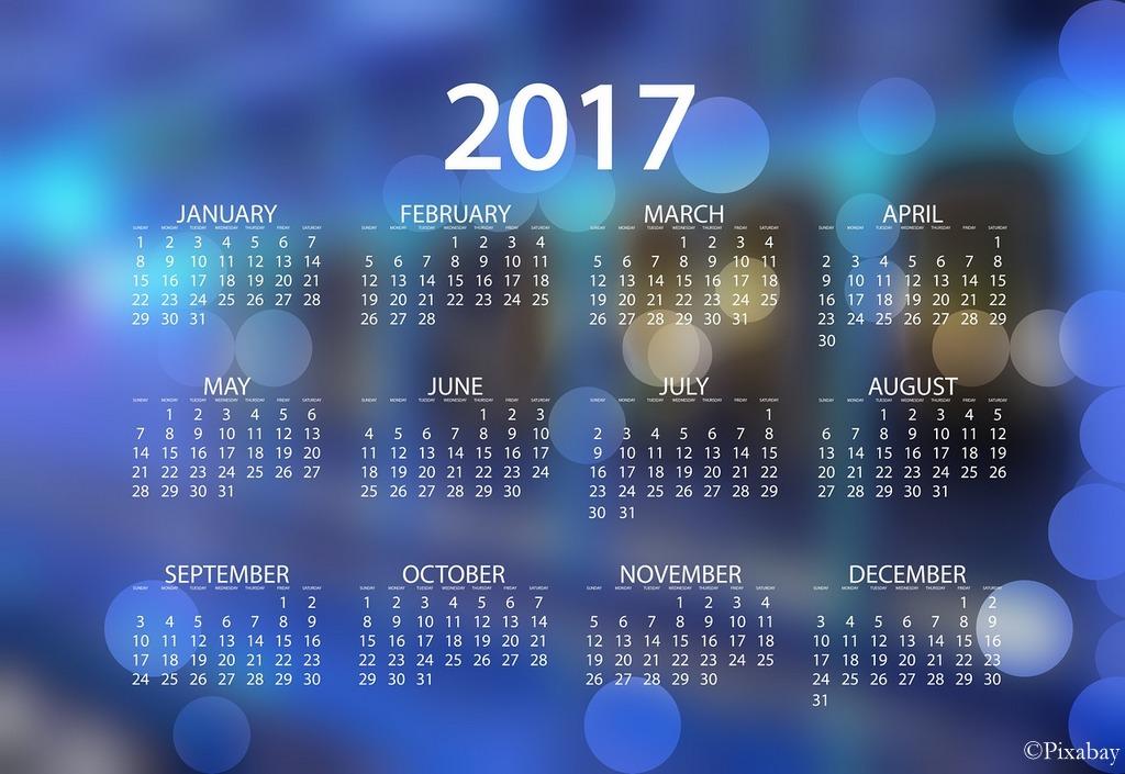 Vuoden 2017 kalenteriin mahtuu monta merkintää.
