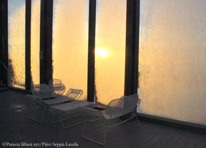 Tammikuisen aamun tunnelmaa kattoterassilta.