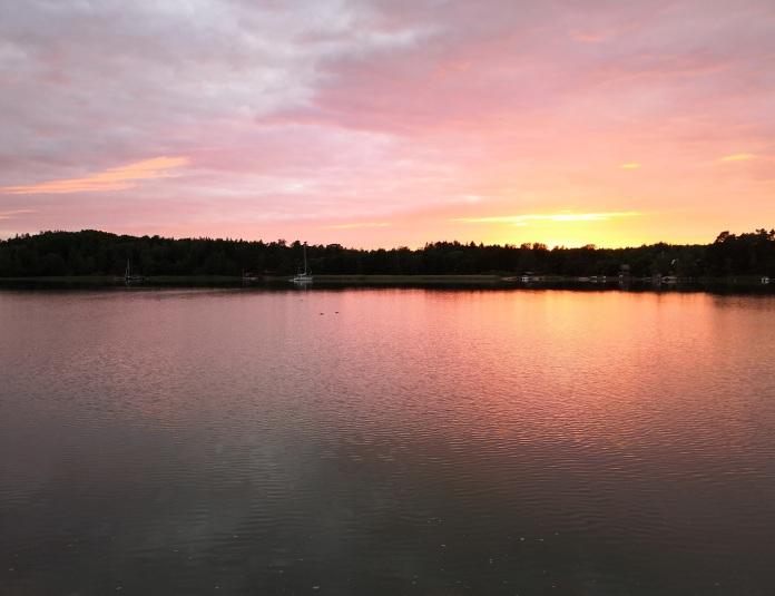 auringonlasku, meri