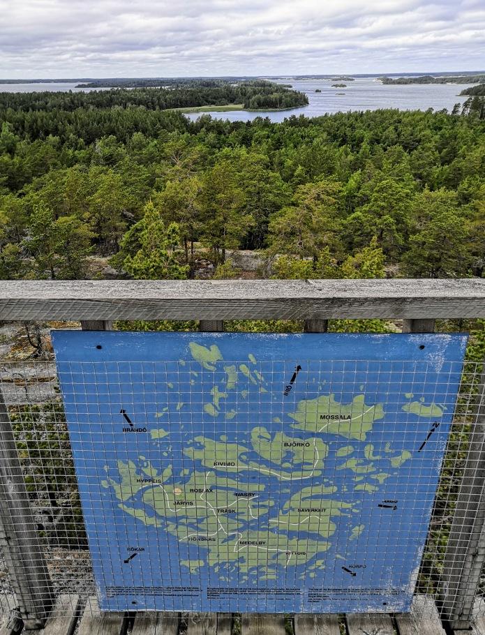 Houtskärin kartta, näköalatorni, merimaisemaa